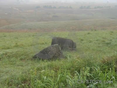 Plain of jars urn laos misty phonsavan.