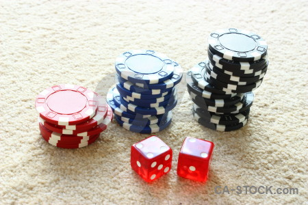 Poker white chip red object.
