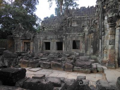 Preah khan carving khmer asia fungus.