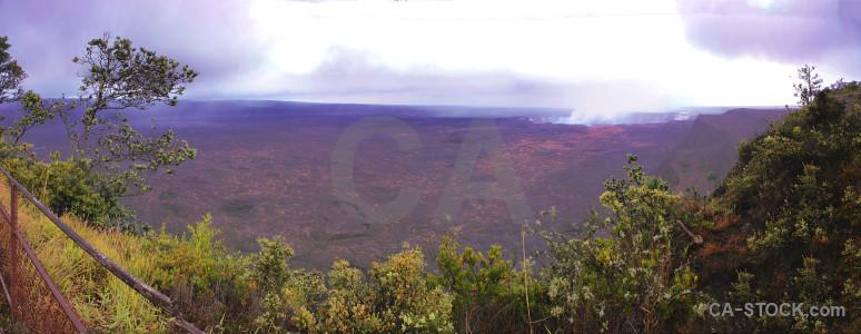 Purple panoramic white volcanic landscape.