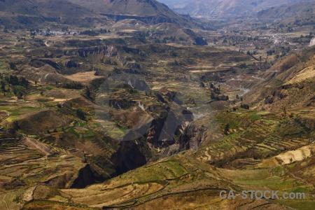 Qullqa river colca valley landscape south america altitude.