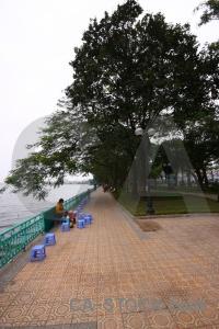 Railing sky water asia west lake.