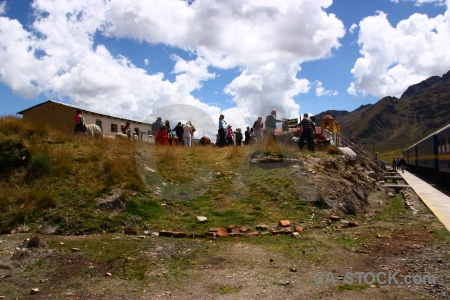 Railway cloud mountain peru person.