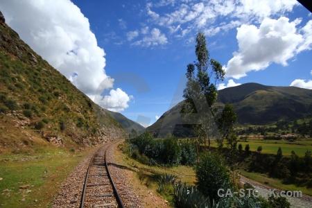 Railway peru andes grass track.