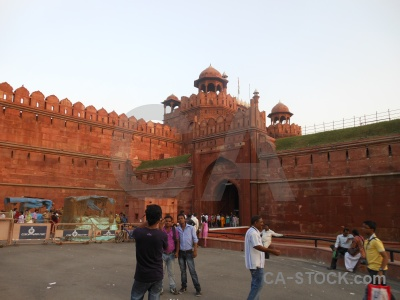 Red fort india person dome monument.