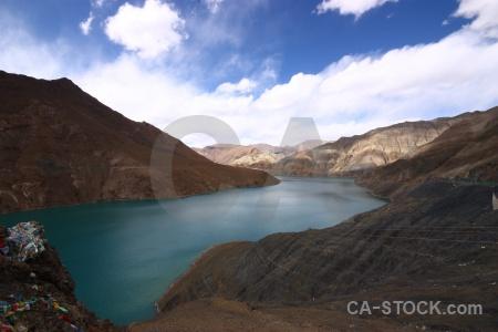 River dam himalayan sky tibet.