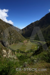 River inca trail stone grass andes.