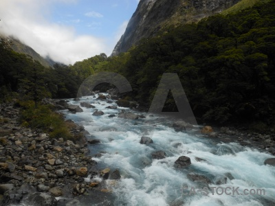 River new zealand stone sky hollyford river.