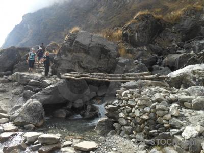 River person nepal modi khola valley bridge.