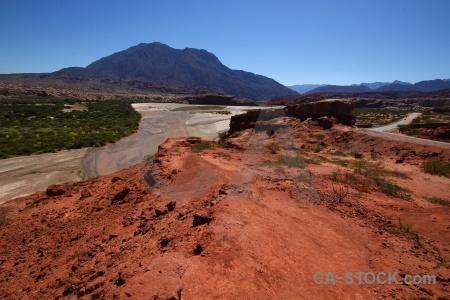 River sky bush quebrada de cafayate landscape.