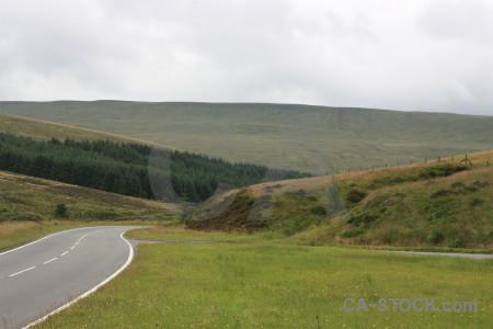 Road landscape field white green.