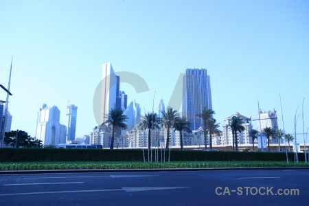 Road sky skyscraper asia palm tree.