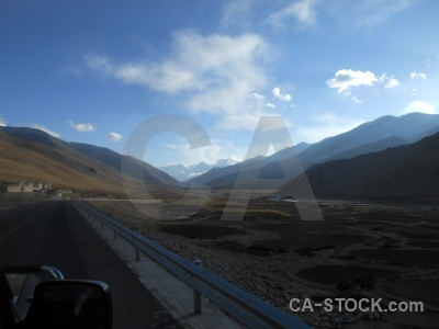 Road tibet altitude cloud mountain.
