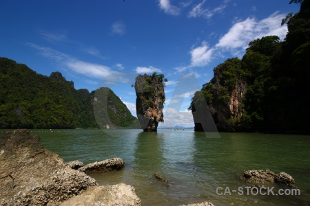 Rock asia phang nga bay tree water.