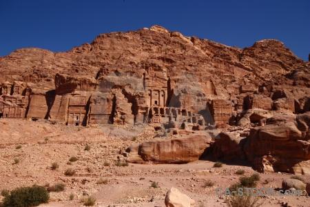 Rock cliff petra carving jordan.