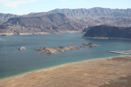 Rock water desert mountain lake.