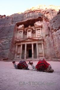 Rock western asia al khazneh camel ancient.