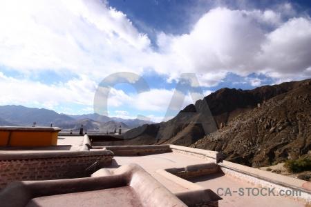 Roof mountain buddhism drepung monastery tibet.