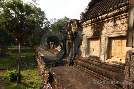 Ruin buddhist block angkor temple.