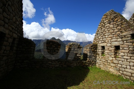Ruin cloud stone inca trail peru.