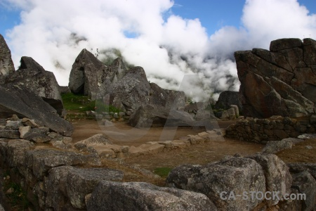 Ruin fog rock inca trail sky.
