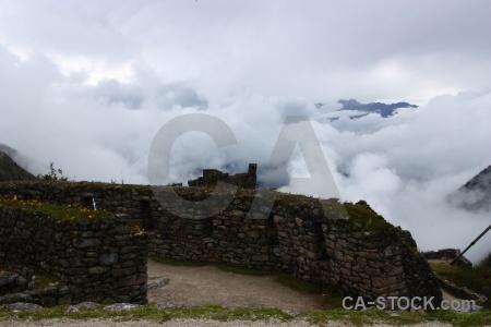 Ruin inca trail mountain cloud peru.