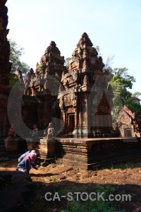 Ruin person cambodia building khmer.