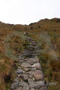 Runkuraqay stone step inca trail peru.