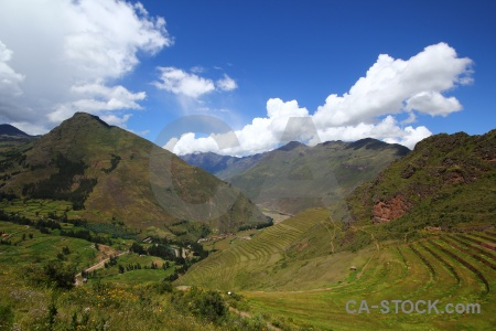 Sacred valley andes grass pisac sky.