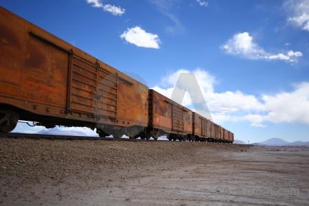 Salt andes salar de chiguana track railway.