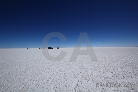 Salt flat car salar de uyuni landscape south america.