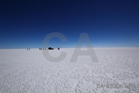 Salt flat car salar de uyuni landscape south america.