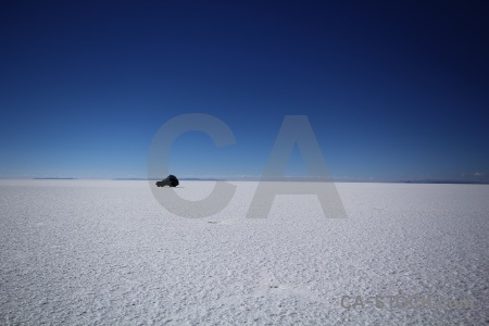 Salt sky vehicle landscape bolivia.