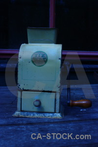 Scientific coffee grinder blue object.