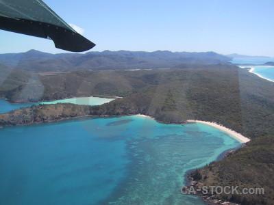 Sea aerial island cyan blue.