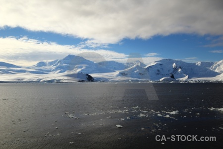 Sea ice sea mountain adelaide island antarctica.