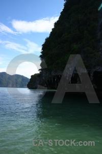 Sea limestone tropical cliff island.