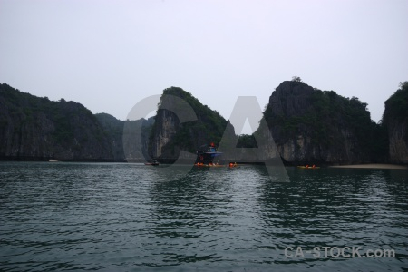 Sea limestone vietnam boat vehicle.