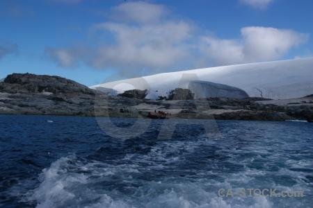 Sea mountain cloud ice rock.