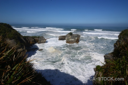 Sea new zealand limestone pancake rocks water.