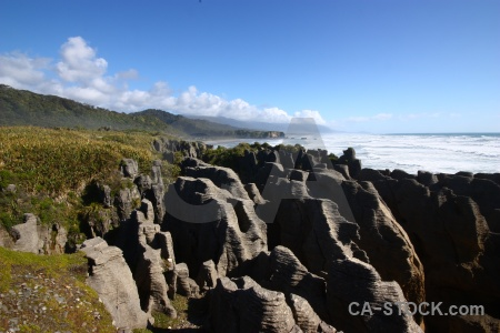 Sea new zealand limestone south island pancake rocks.