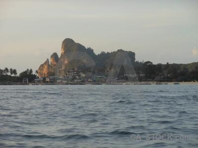Sea tropical tonsai bay southeast asia building.