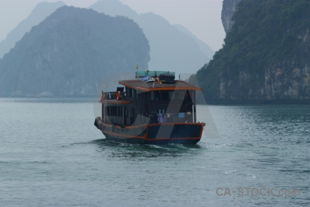 Sea vehicle limestone southeast asia boat.