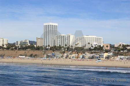 Sea water blue cityscape beach.