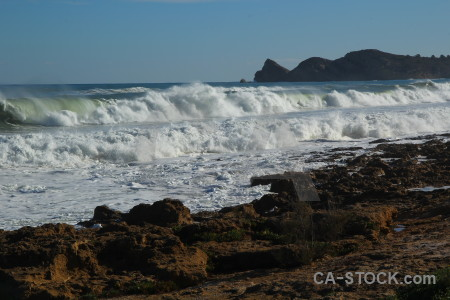 Sea water rock wave spain.