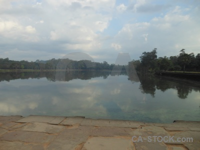 Siem reap buddhist moat cambodia lake.