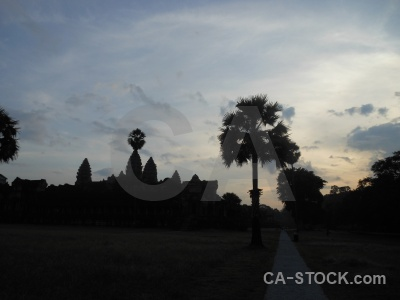 Silhouette angkor wat asia temple khmer.