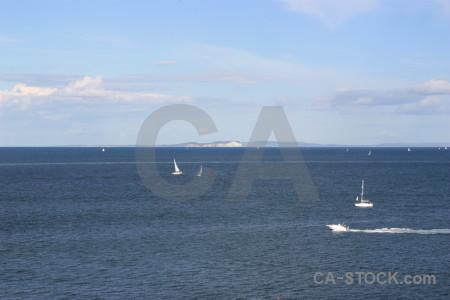Sky blue coast sea water.