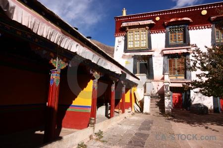 Sky china gambo utse monastery archway.