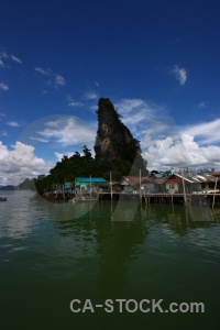 Sky cliff stilts phang nga bay southeast asia.